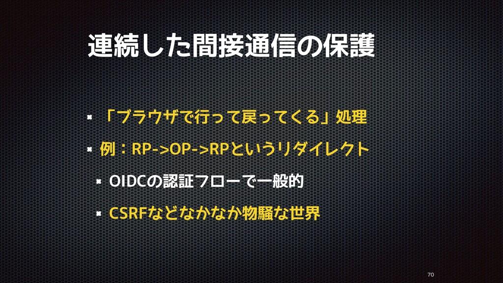 連続した間接通信の保護 「ブラウザで行って戻ってくる」処理 例:RP->OP->RPというリダ...