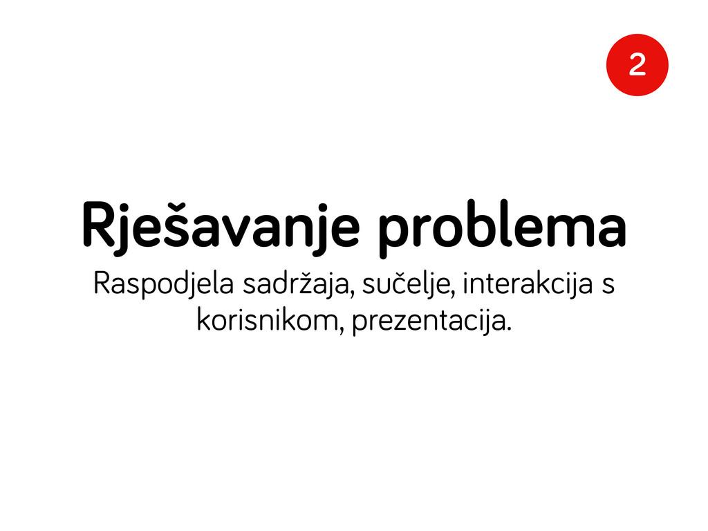 Rješavanje problema Raspodjela sadržaja, sučelj...
