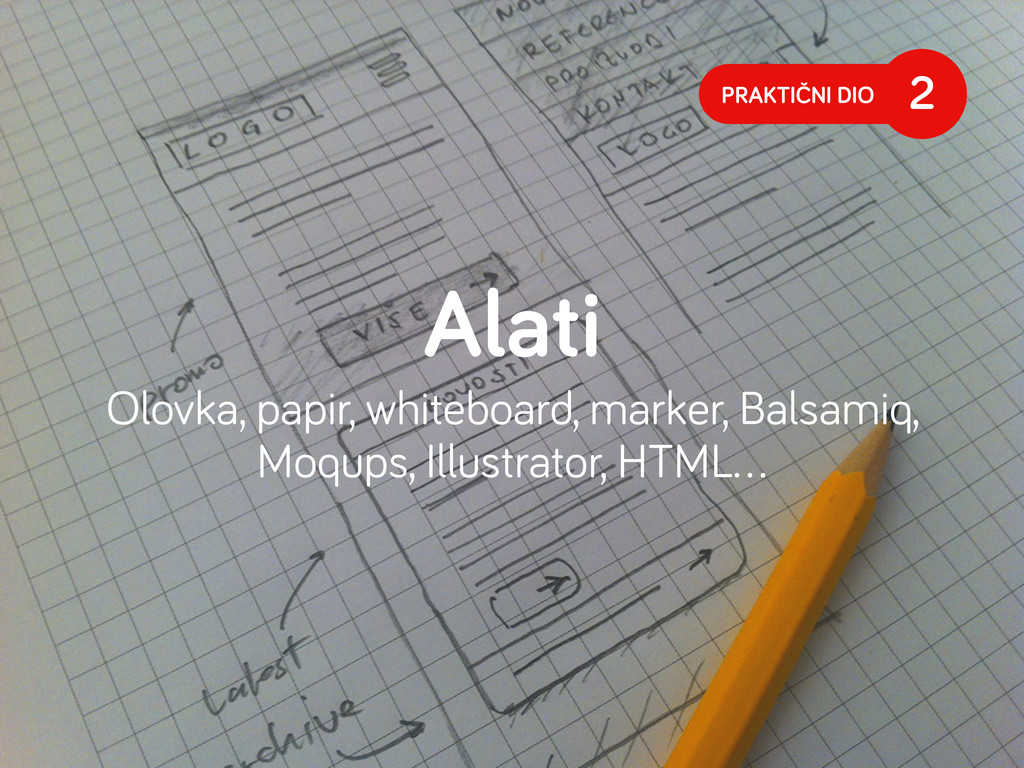 PRAKTIČNI DIO 2 Alati Olovka, papir, whiteboard...