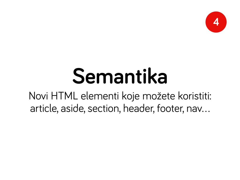 Semantika Novi HTML elementi koje možete korist...