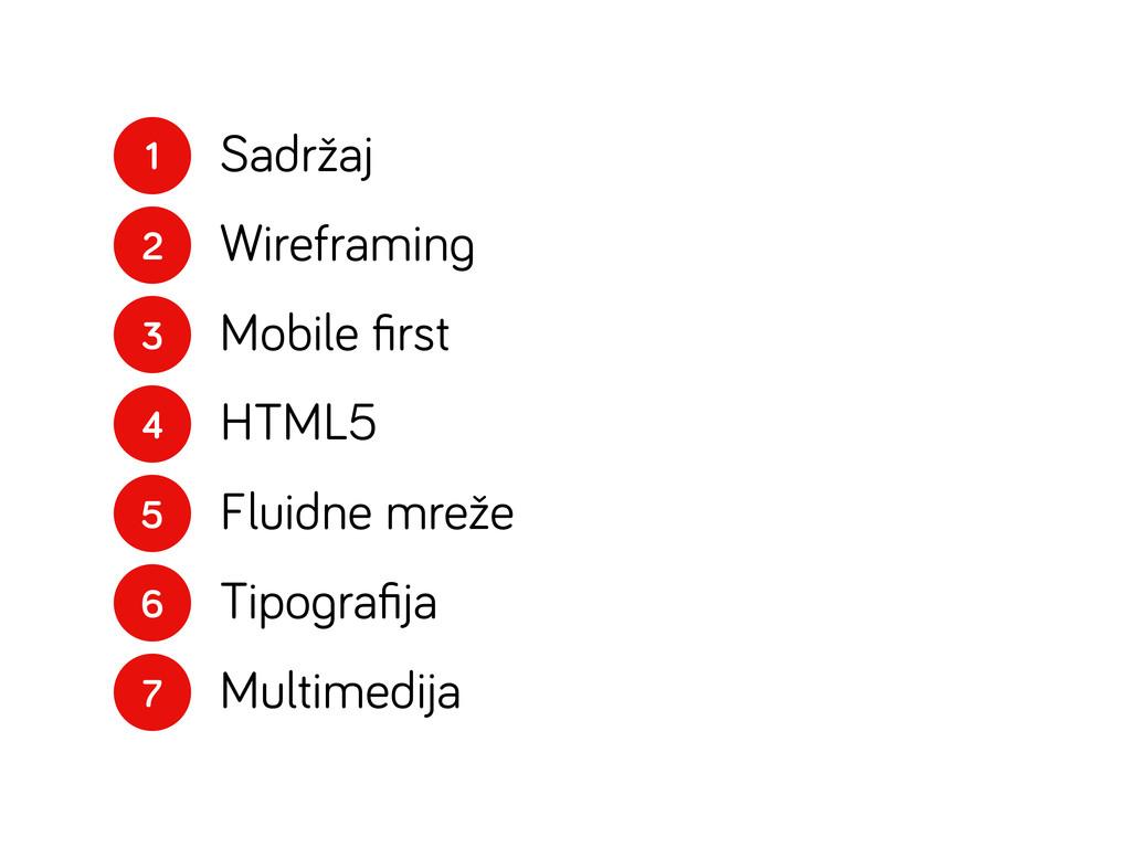 1 2 3 4 5 6 7 Sadržaj Wireframin Mobile first HT...