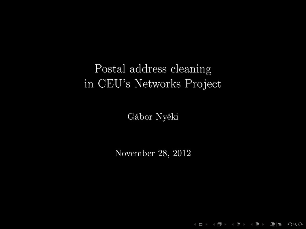 Postal address cleaning in CEU's Networks Proje...