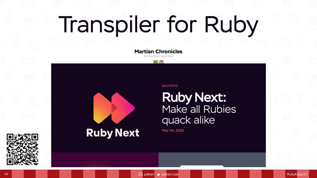 palkan_tula palkan RubyKaigi'20 Transpiler for ...