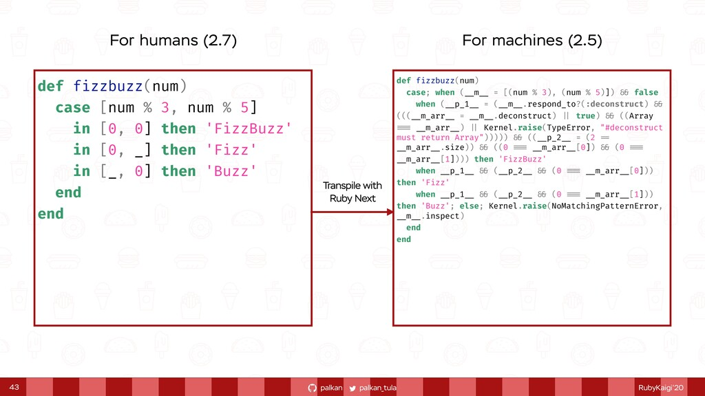 palkan_tula palkan RubyKaigi'20 43 def fizzbuzz...