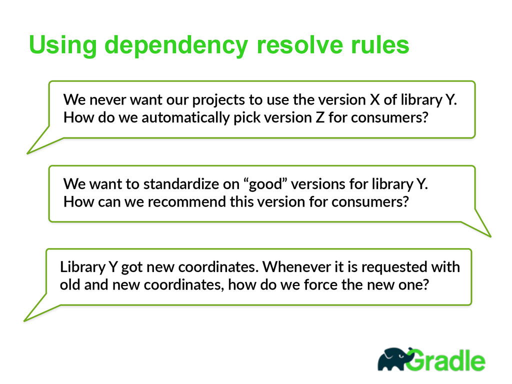 Using dependency resolve rules We  never  want ...