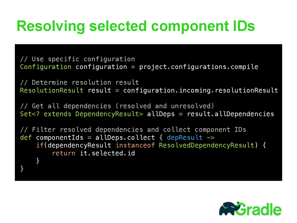 Resolving selected component IDs 
