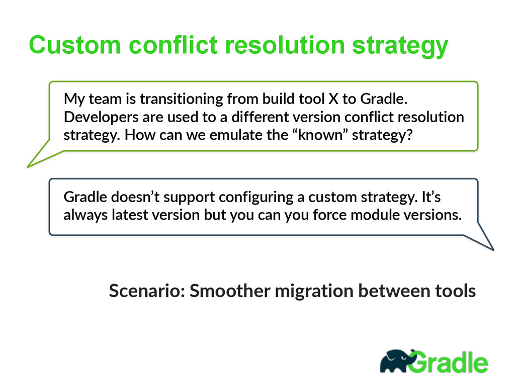 Custom conflict resolution strategy My  team  i...
