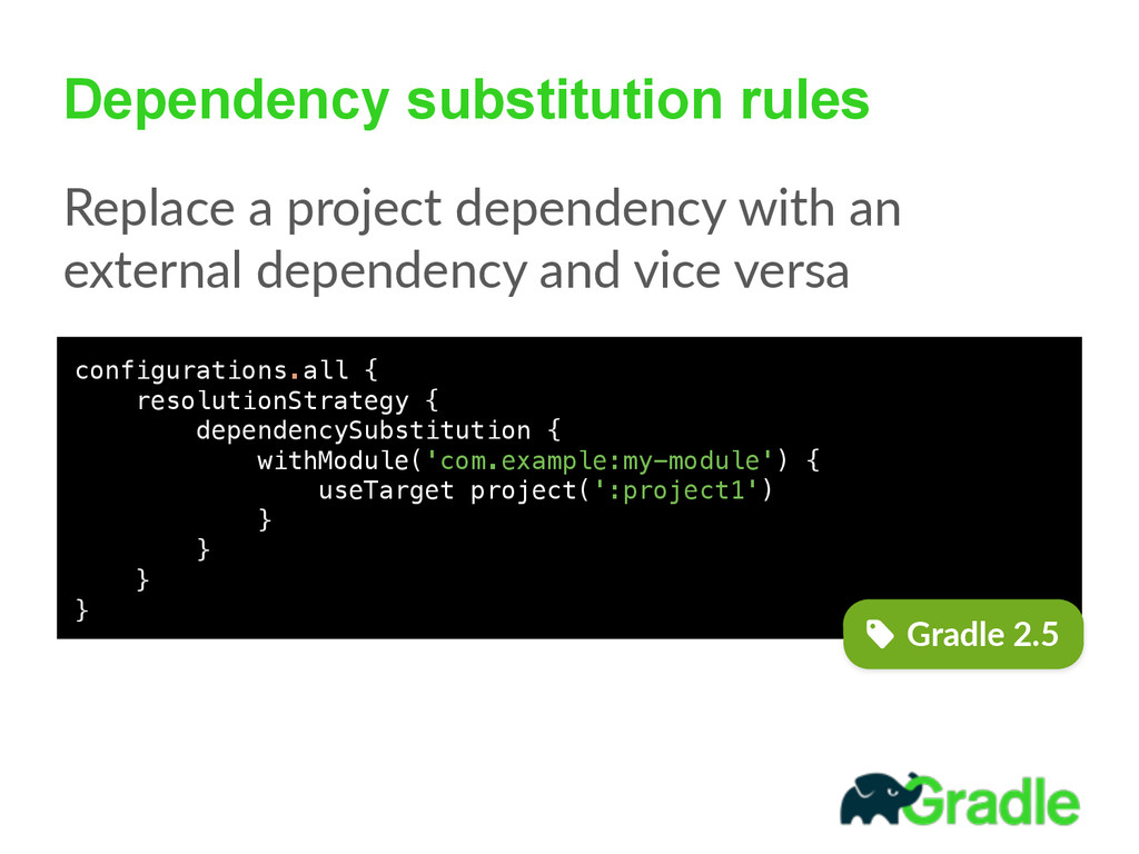 Dependency substitution rules Replace  a  proje...