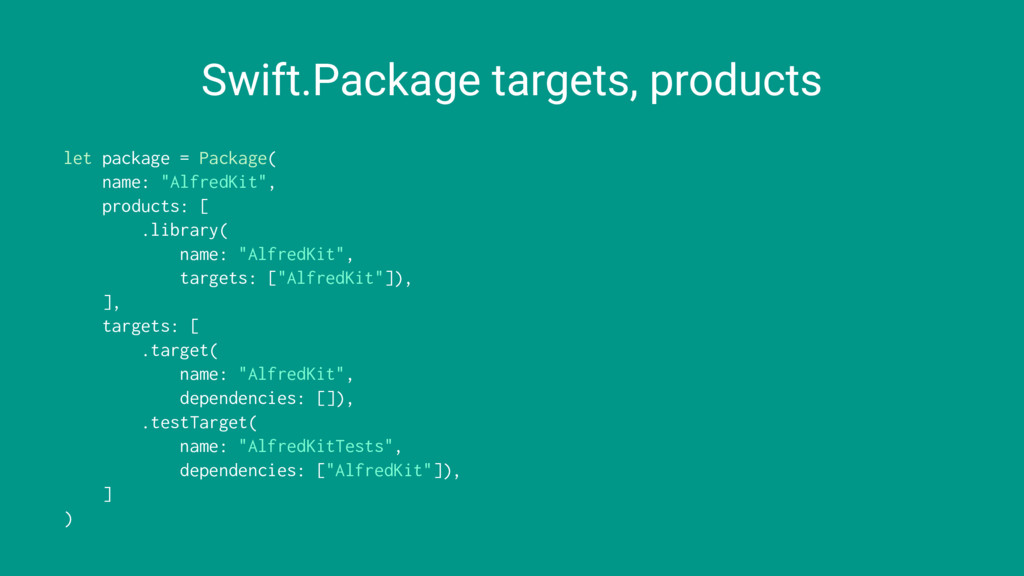 Swift.Package targets, products let package = P...