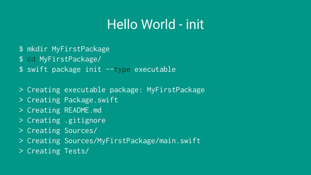 Hello World - init $ mkdir MyFirstPackage $ cd ...