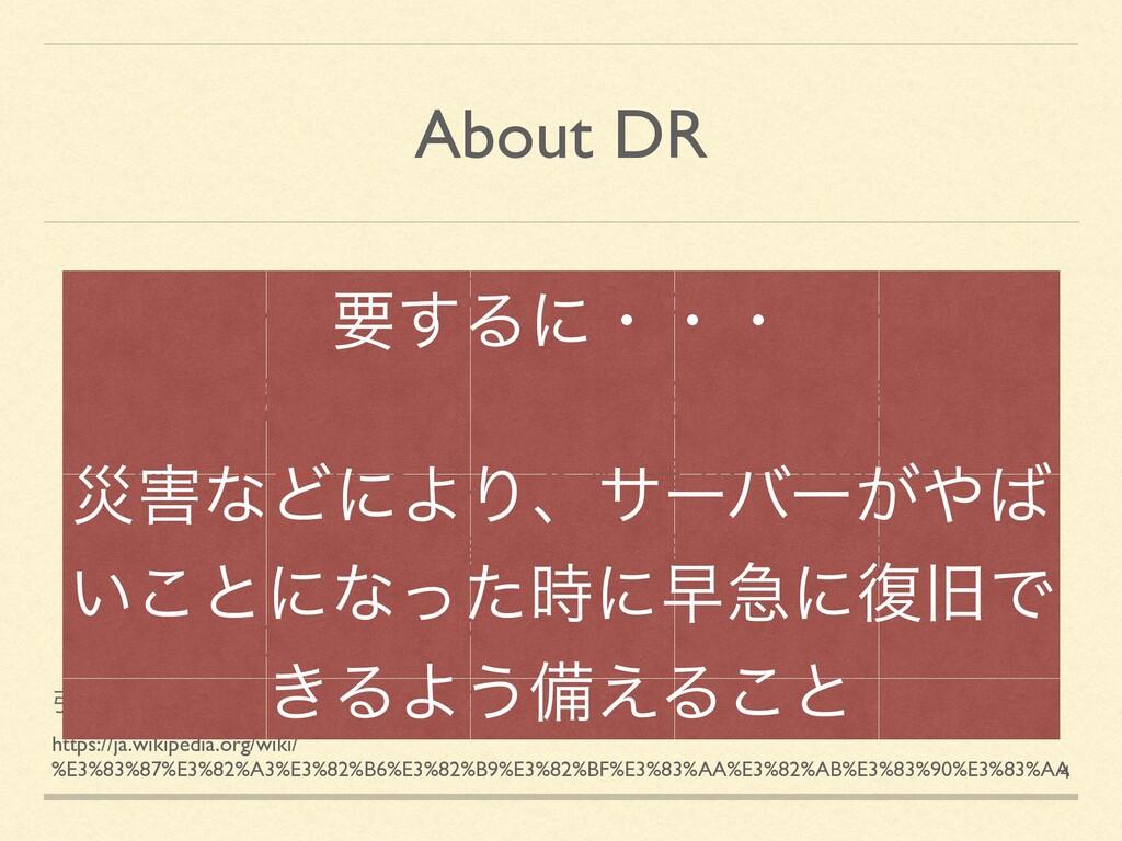 About DR ۀܧଓϚωδϝϯτʹ͓͚Δ֓೦ͷͻͱ ͭͰɺࡂͳͲʹΑΔඃ͔Βͷճ෮ા...