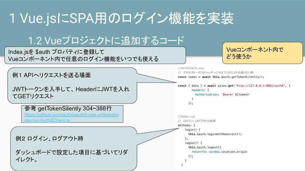 1.2 Vueプロジェクトに追加するコード 1 Vue.jsにSPA用のログイン機能を実装 例...