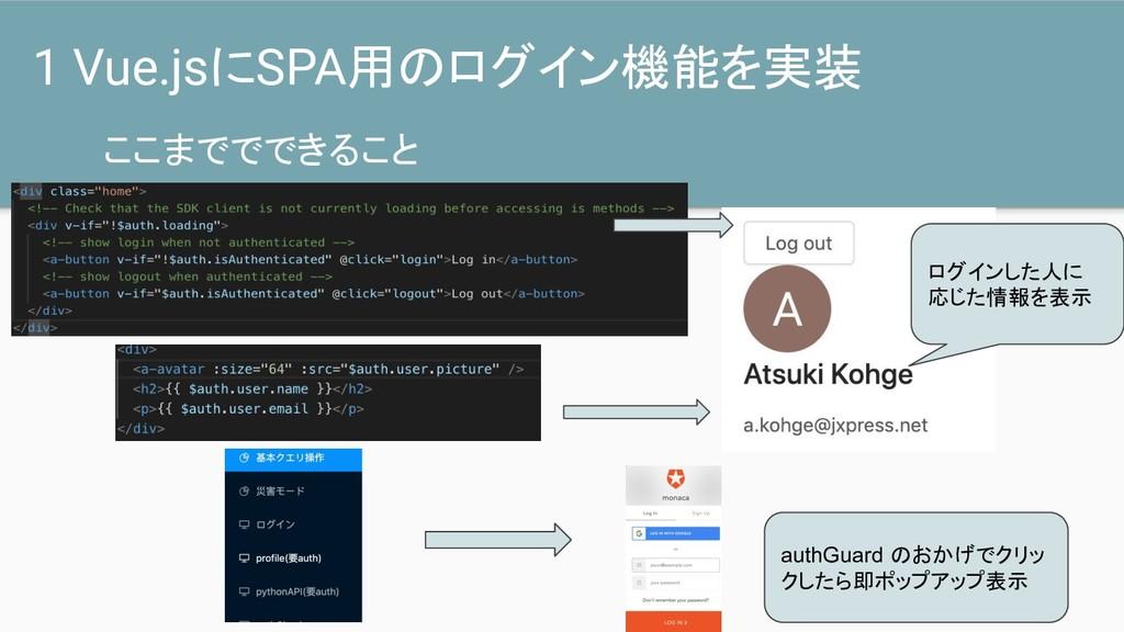 ここまででできること 1 Vue.jsにSPA用のログイン機能を実装 authGuard のお...