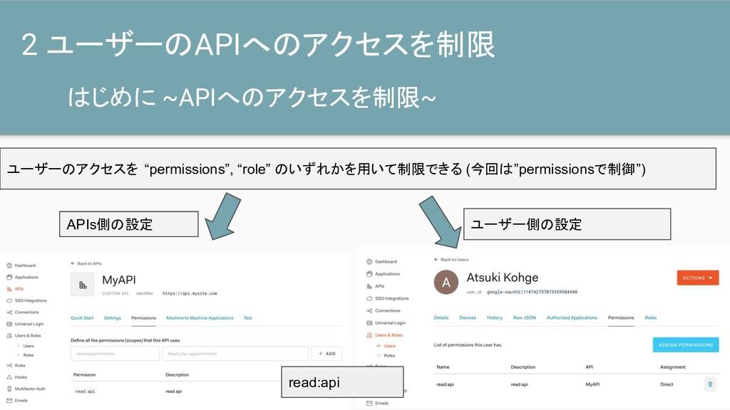 はじめに ~APIへのアクセスを制限~ 2 ユーザーのAPIへのアクセスを制限 ユーザーのアク...
