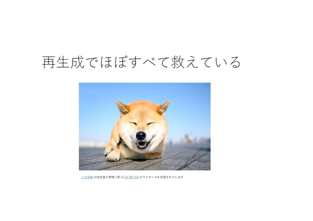 再生成でほぼすべて救えている この写真 の作成者小野慎二郎 は CC BY-SA のライセンス...