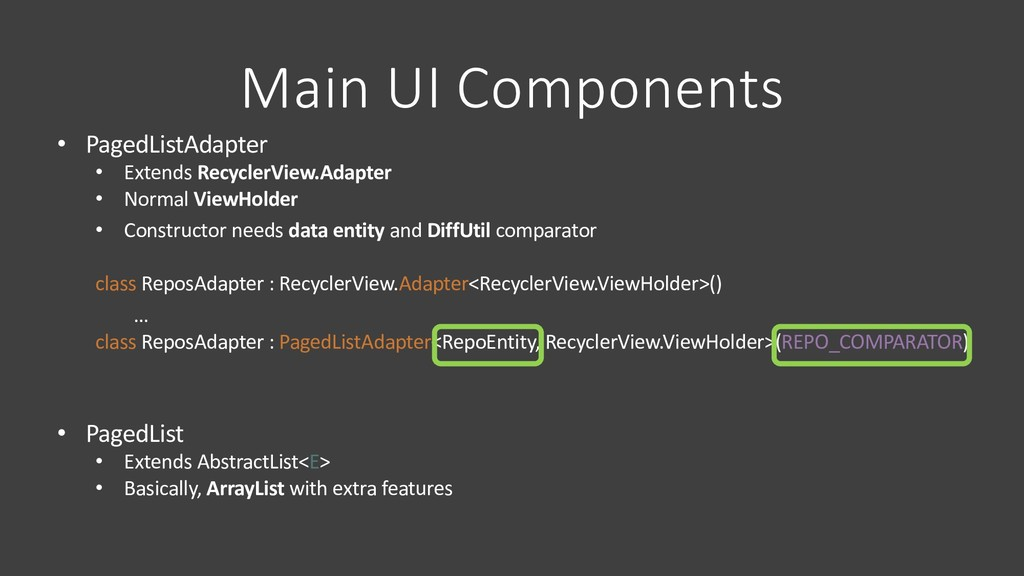 Main UI Components • PagedListAdapter • Extends...