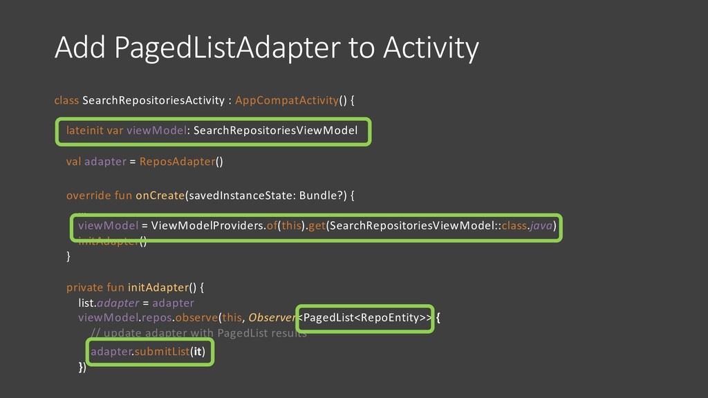Add PagedListAdapter to Activity class SearchRe...