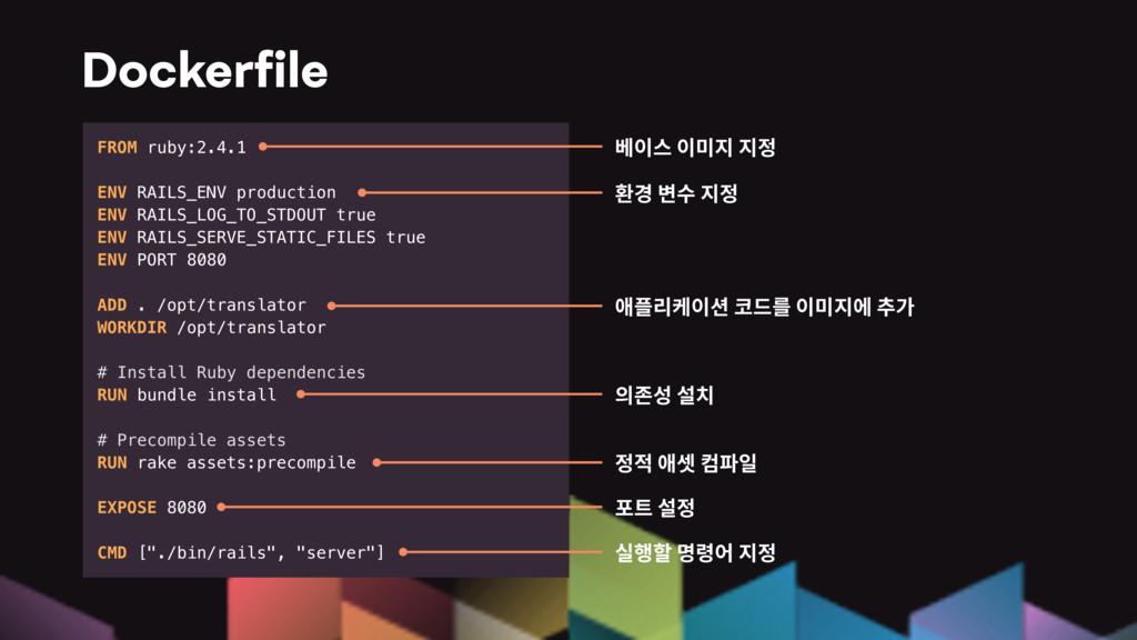 Dockerfile FROM ruby:2.4.1 ENV RAILS_ENV product...
