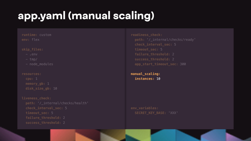 app.yaml (manual scaling) runtime: custom env: ...