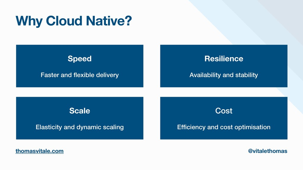 Why Cloud Native? Speed Faster and fl exible de...