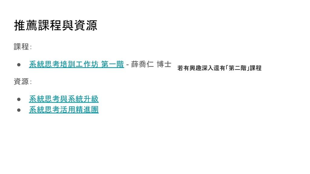 推薦課程與資源 課程: ● 系統思考培訓工作坊 第一階 - 薛喬仁 博士 資源: ● 系統思考...