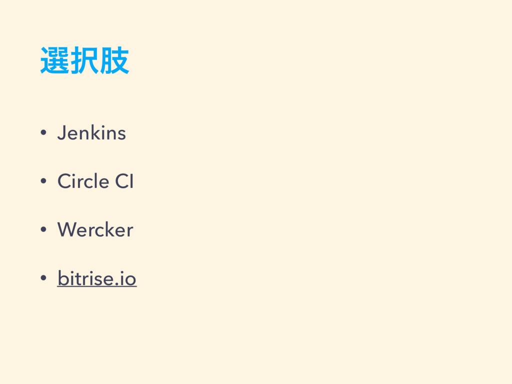 બࢶ • Jenkins • Circle CI • Wercker • bitrise.io