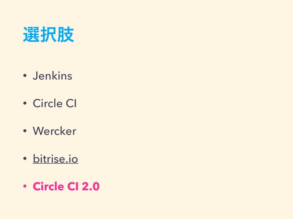 બࢶ • Jenkins • Circle CI • Wercker • bitrise.i...