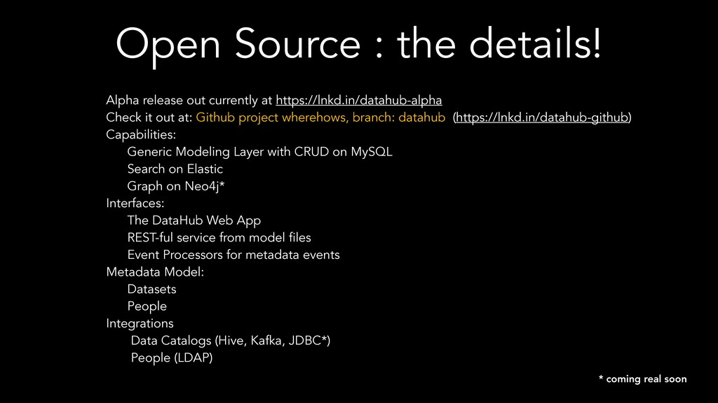 Open Source : the details! Alpha release out cu...