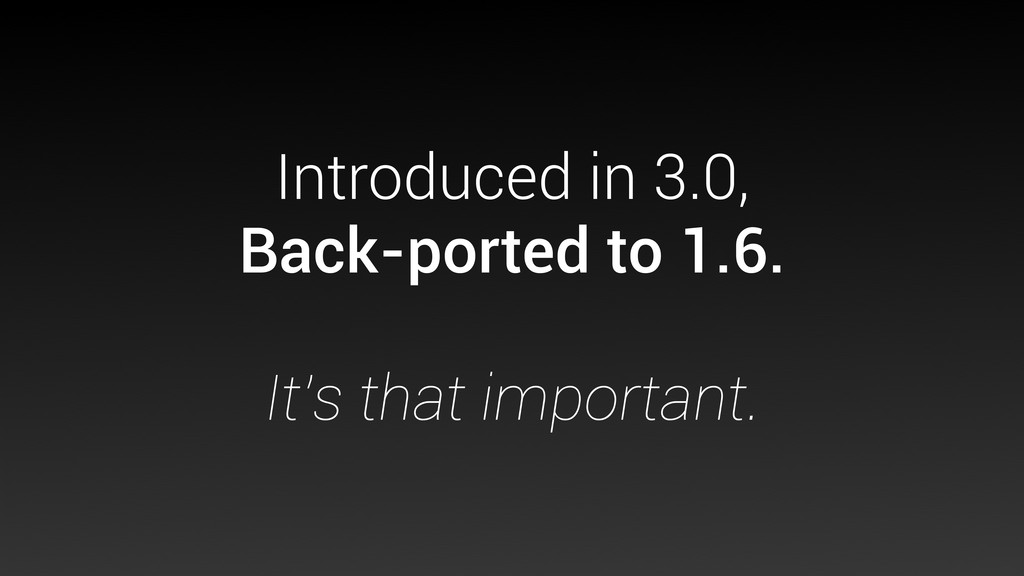 Introduced in 3.0, Back-ported to 1.6. It's tha...