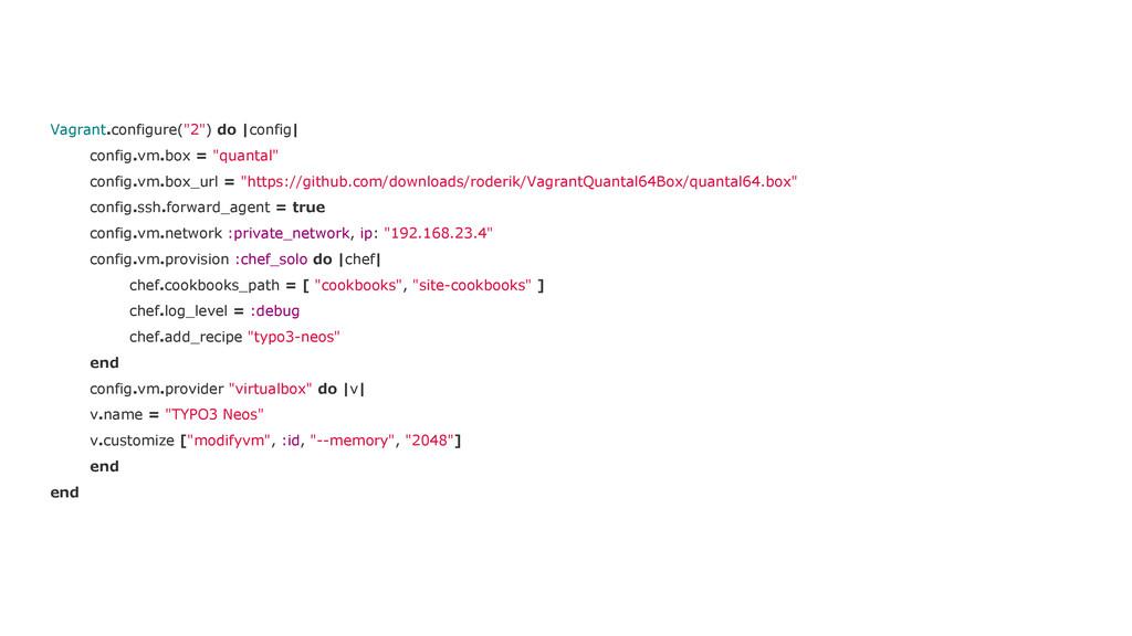 """Vagrant.configure(""""2"""") do  config  config.vm.bo..."""