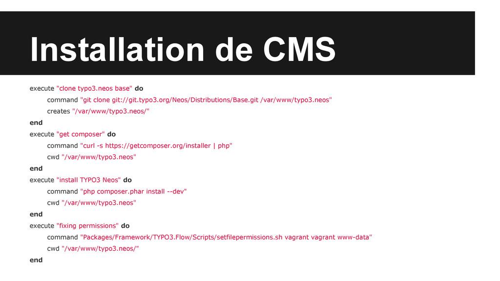 "Installation de CMS execute ""clone typo3.neos b..."