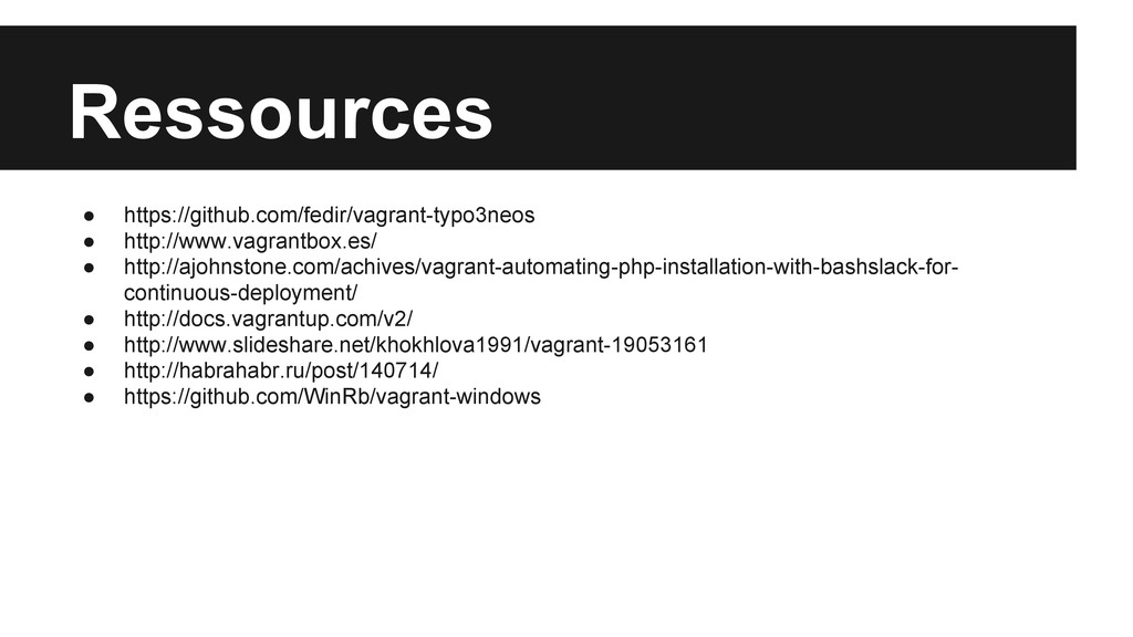 Ressources ● https://github.com/fedir/vagrant-t...