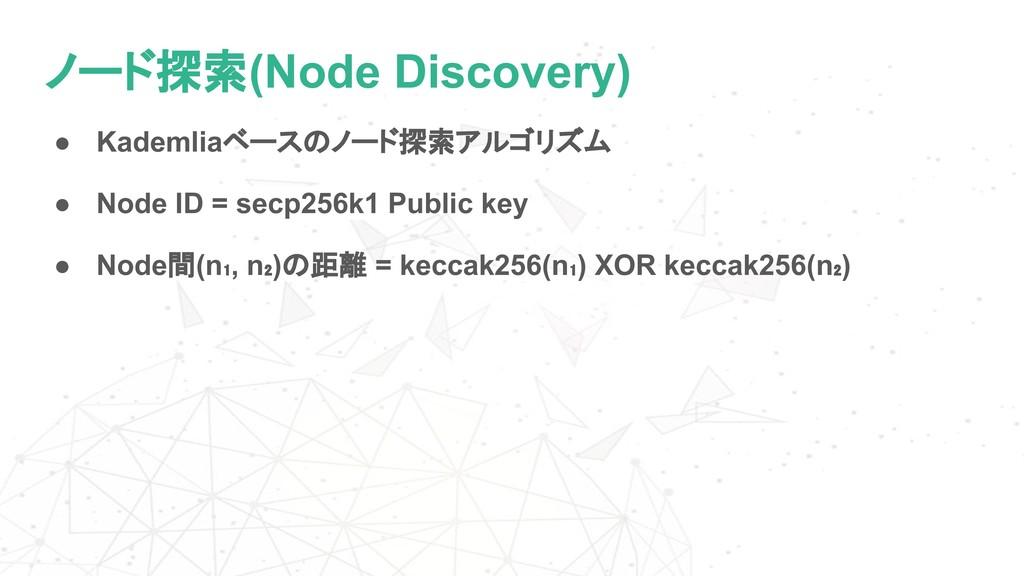 ノード探索(Node Discovery) ● Kademliaベースのノード探索アルゴリズム...