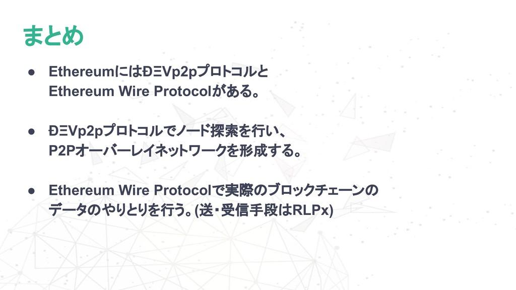 まとめ ● EthereumにはÐΞVp2pプロトコルと Ethereum Wire Prot...