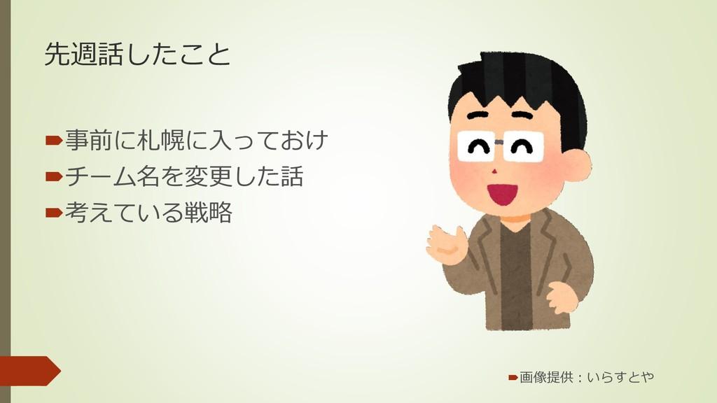 先週話したこと 事前に札幌に入っておけ チーム名を変更した話 考えている戦略 画像提供...