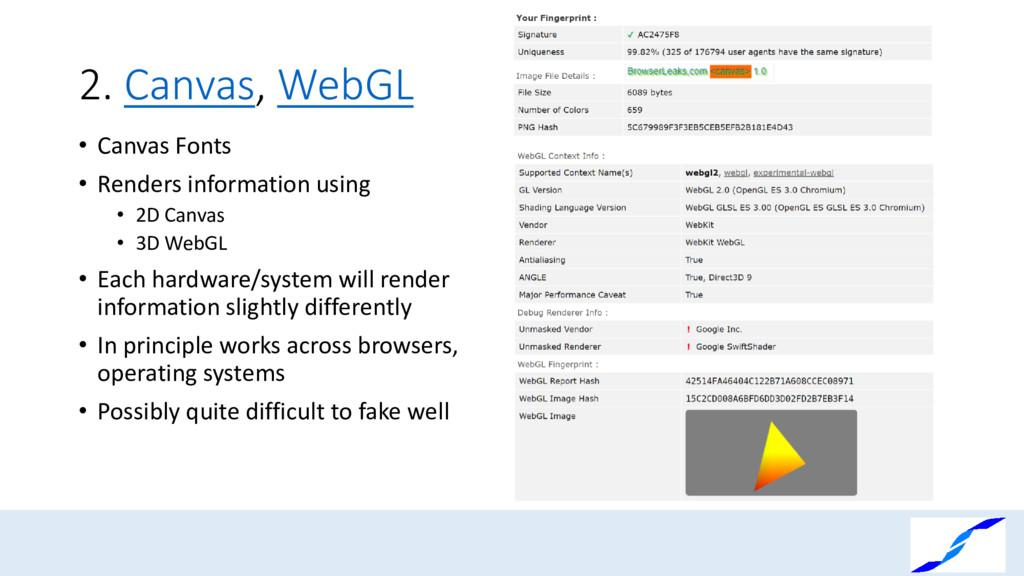 2. Canvas, WebGL • Canvas Fonts • Renders infor...