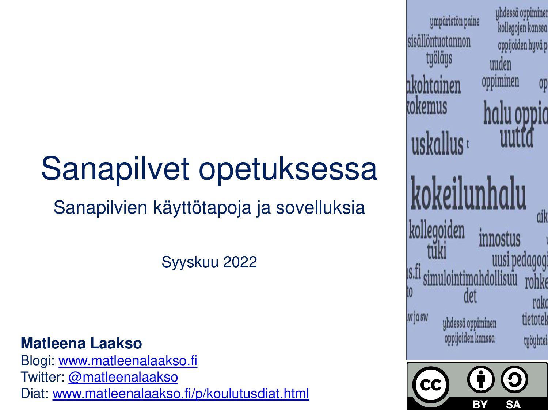 Sanapilvet opetuksessa Vinkkejä WordArtin, Answ...