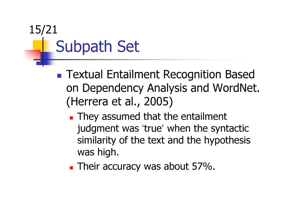 Subpath Set Textual Entailment Recognition Base...