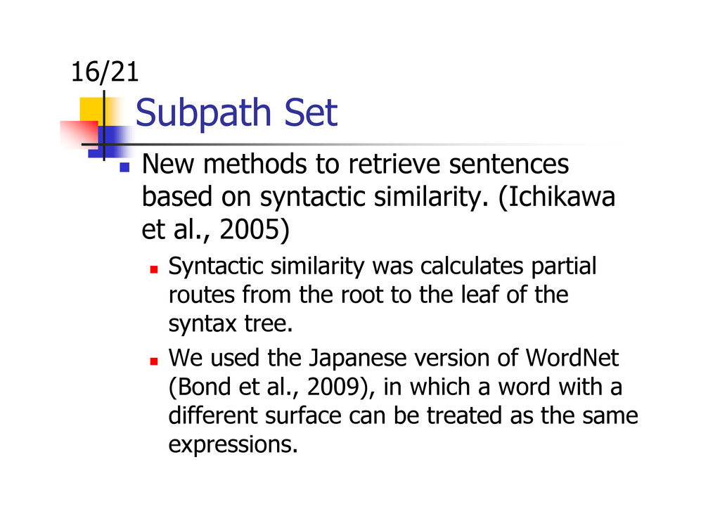 Subpath Set 16/21 New methods to retrieve sente...