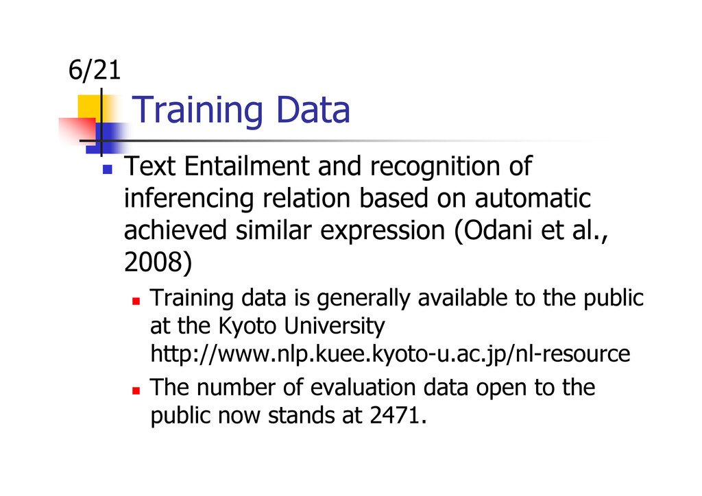 Training Data Text Entailment and recognition o...