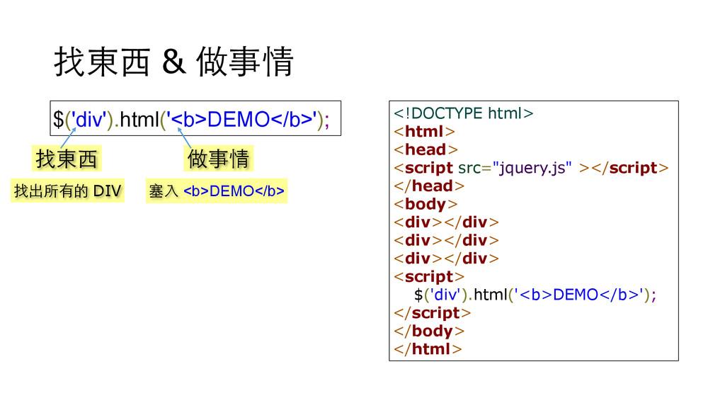 找東⻄西 & 做事情 $('div').html('<b>DEMO</b>'); 找東⻄西 做...