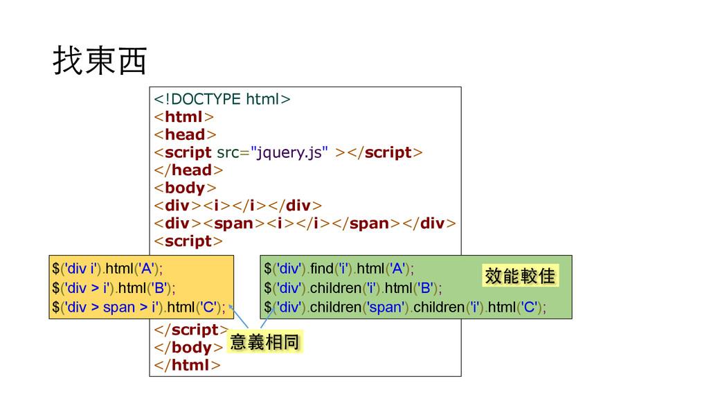 找東⻄西 <!DOCTYPE html> <html> <head> <script src=...