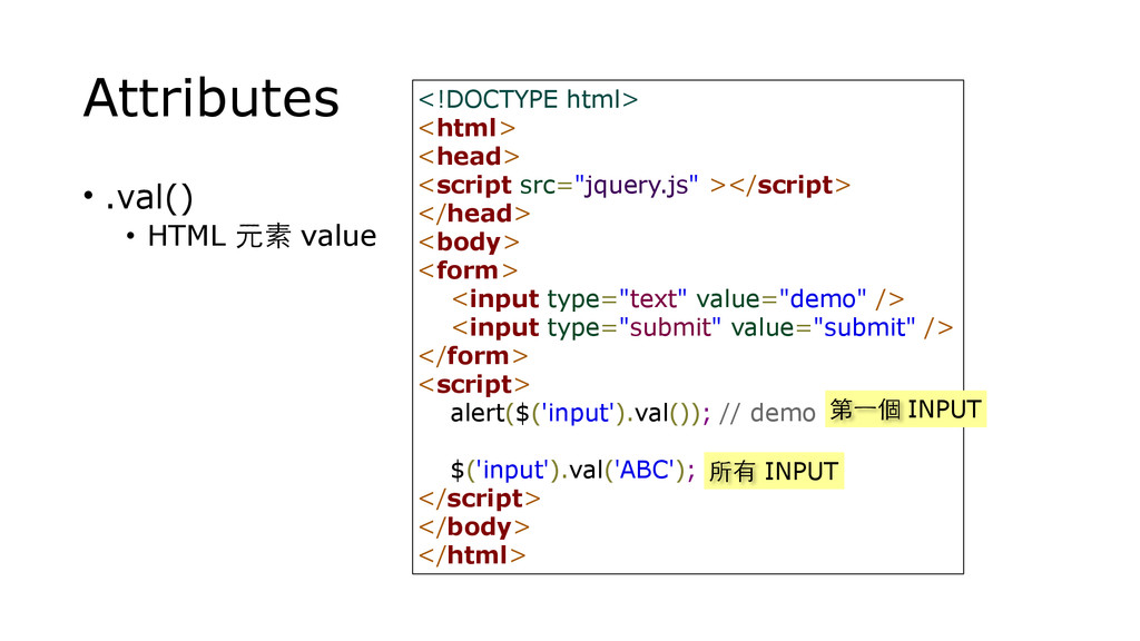 Attributes • .val() • HTML 元素 value <!DOCTYPE h...