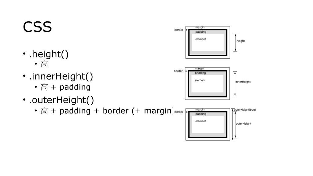 CSS • .height() • ⾼高 • .innerHeight() • ⾼高 + pa...