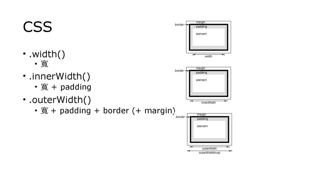 CSS • .width() • 寬 • .innerWidth() • 寬 + paddin...