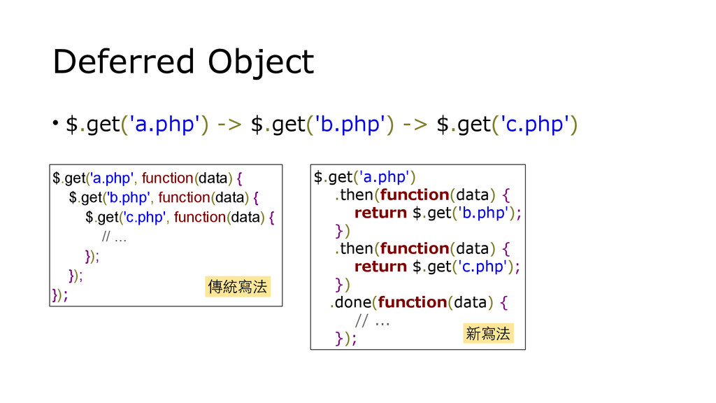 Deferred Object • $.get('a.php') -> $.get('b.ph...