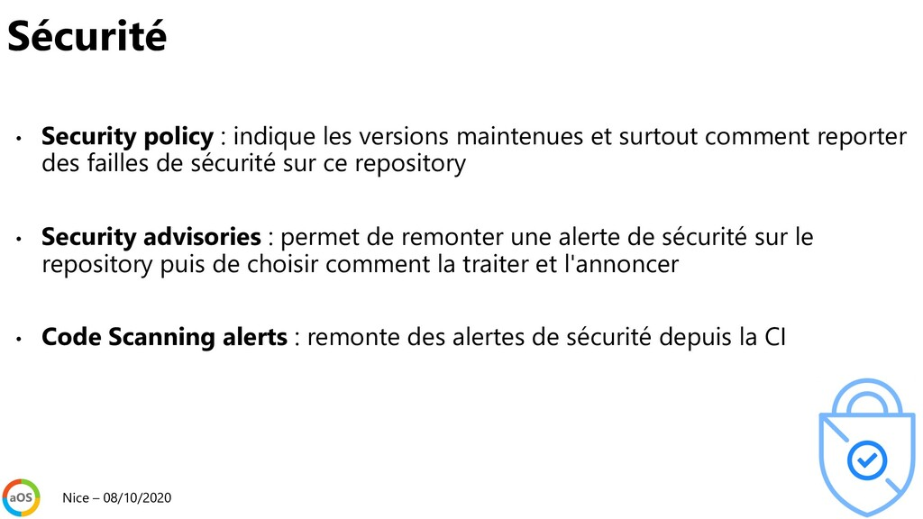 • Security policy : indique les versions mainte...