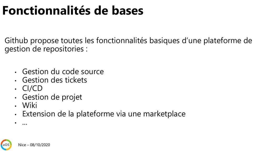 Github propose toutes les fonctionnalités basiq...