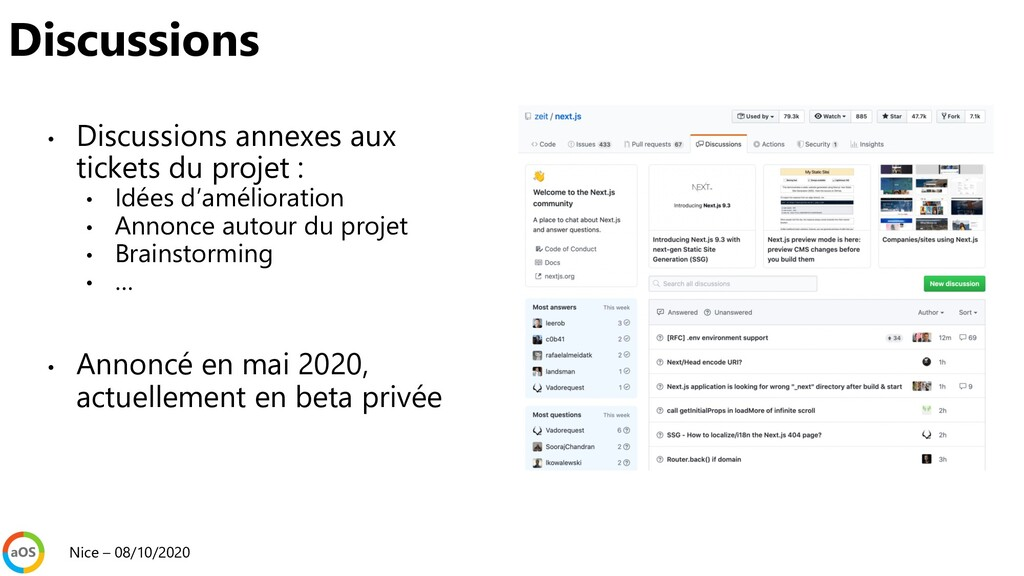 • Discussions annexes aux tickets du projet : •...