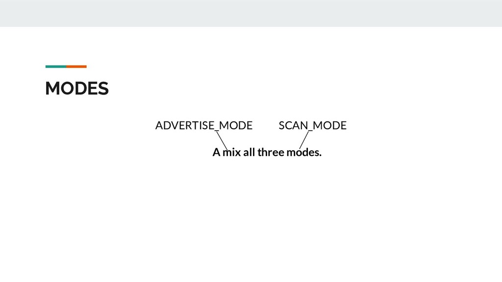 MODES ADVERTISE_MODE SCAN_MODE A mix all three ...